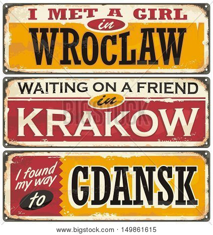 Retro tin signs souvenirs from Poland. Vintage postcard layouts with popular touristic destination in Poland. Places to visit and remember.