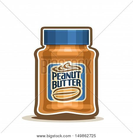 Vector logo Peanut Butter Jar with label, container jar with brown peanut cream snack with blue cap, pot butter nuts dessert spread paste with lid for kids breakfast closeup isolated white background.