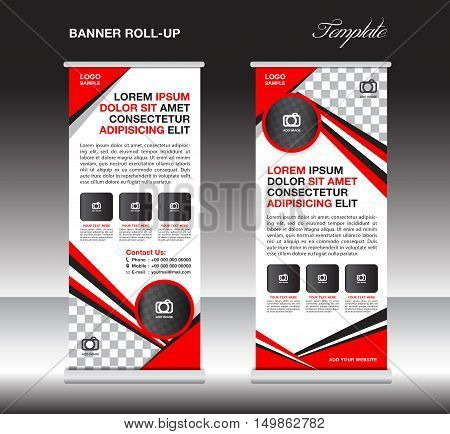 Red roll up banner template, stand template, stand design, banner design, pull up, advertisement, polygon background vector illustration