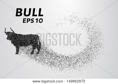 Bull of particles. Bull silhouette made up of little circles.