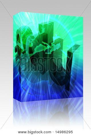 Software package box Dot edu education internet web url Europe illustration