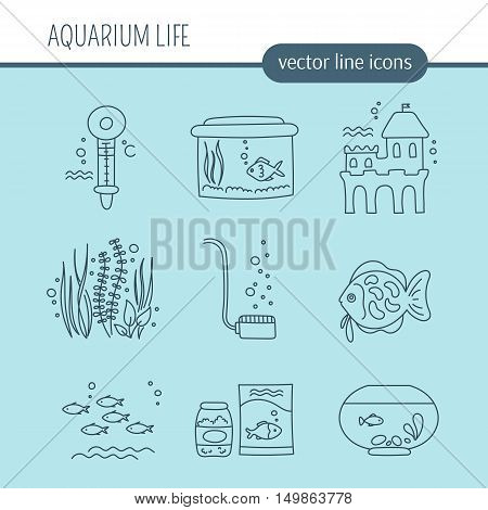 Hand drawn thin line icons set, vector illustration. Aquarium care. Fish, decoration, water tanks and special equipment. Isolated symbols, pictograms. Simple mono linear modern design.