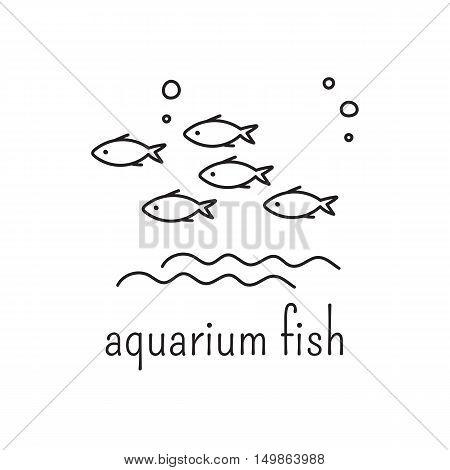 Hand drawn thin line icon, vector logo template illustration. Aquarium care isolated symbol. Flock of fish. Black on white pictogram. Simple mono linear modern design.