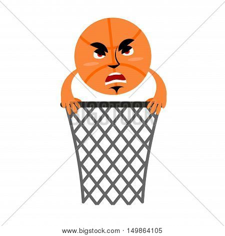 Basketball And Ring. Game Accessories. Hit In Net. Emotions Ball