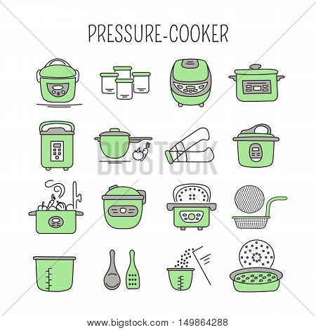 Hand drawn thin line icons set, vector illustration. Pressure cookers and accessories. Modern kitchenware. Isolated colored symbols. Simple mono linear design.