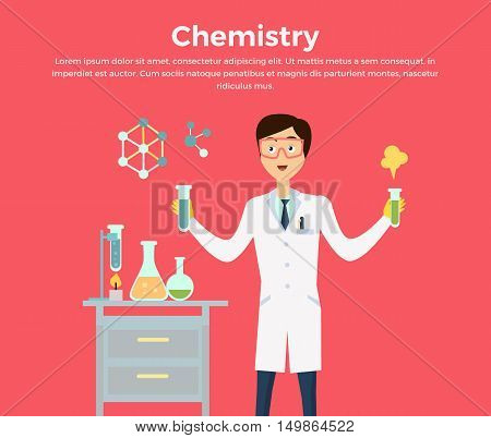 Chemistry banner concept flat style. Scientist chemist in a laboratory flask in hands holds a science experiment isolated on a red background.