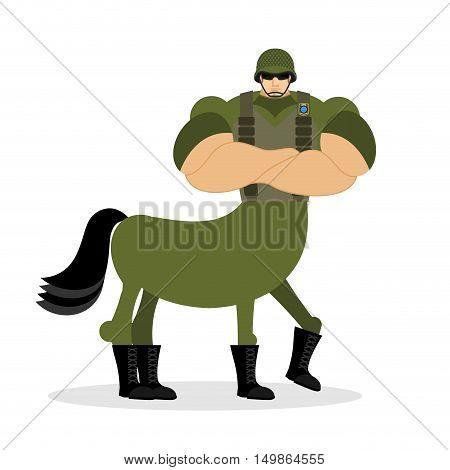 Centaur Soldier In Helmet. Military Mythical Creature. Half Horse Half Person. Magical Warrior. Fair