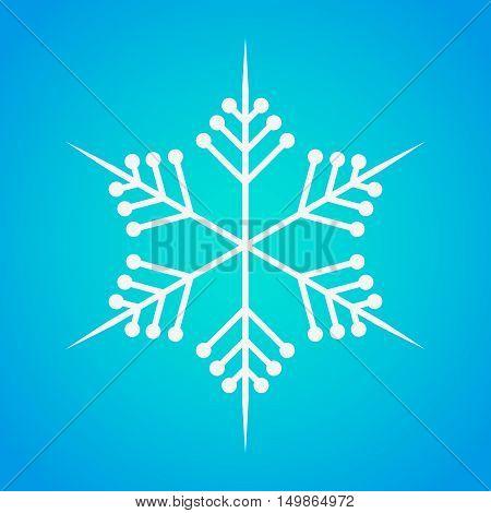 Snowflake icon graphic. White snowflake on blue background . Vector snowflake sign.