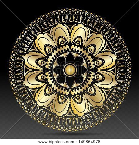 Islamic gold on dark mandala round ornament background architectural muslim texture design. Can be used for brochures invitations, persian motif
