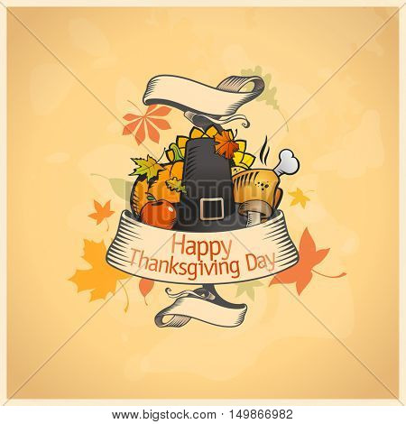 Thanksgiving day card with ribbon and  traditional stuffs, rasterized version