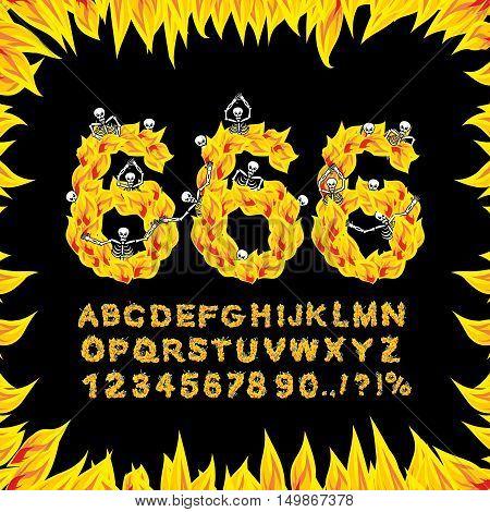 666 Font. Hell Abc. Fire Letters. Sinners In Fiery Gehenna. Infernal Alphabet. Scrape Down Flame For