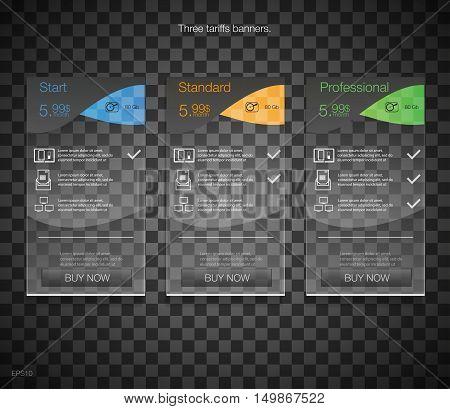 Tariffs banners. Web pricing table. Vector design for web app. Price list. Black design.