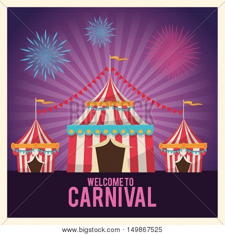 striped tent icon. Carnival festival fair circus and celebration theme. Colorful design. Striped background. Vector illustration