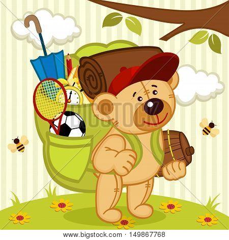 teddy bear goes hiking - vector illustration, eps