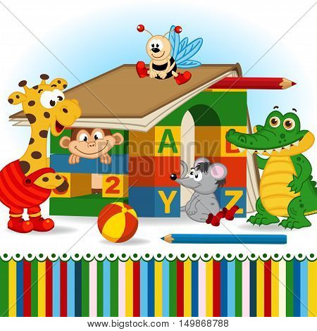 animals built house out of baby blocks - vector illustration, eps