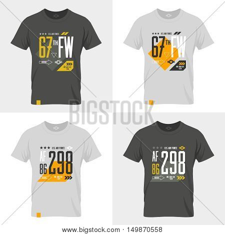 Modern American air force tee print vector design set. Premium quality superior number logo concept badge. T-shirt United States aircraft emblem.