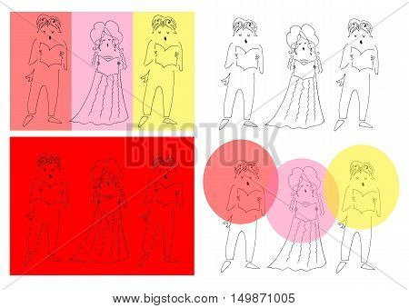 Vocal trio. Set of musical cards. Cute cartoon vector illustration.