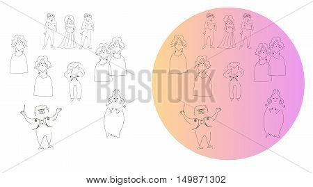 Opera. Cute cartoon illustration. Set of singing people.