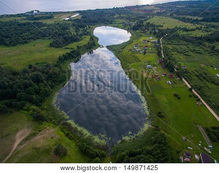 Aerial view  lake  in countryside at summer time