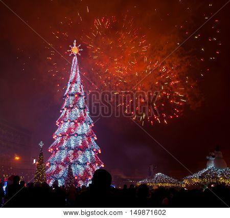 Beautiful Christmas Tree And Fireworks