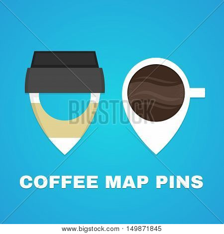 Coffee map pins concept. Vector flat illustration logo design. Paper coffee cup
