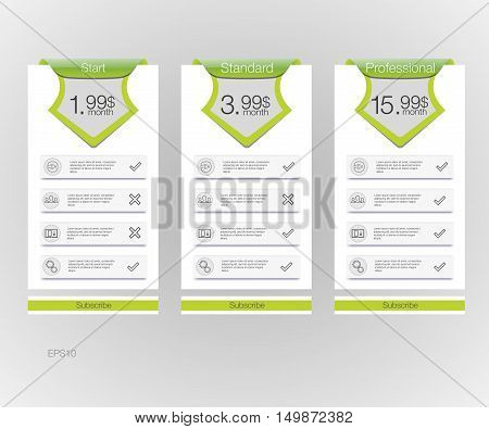 Price list. Three tariffs banners. Web pricing table. Vector design for web app.