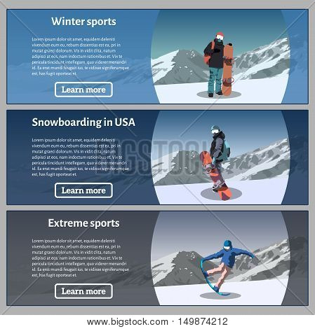 Flat horizontal banners on the theme of snowboarding, extreme sports, winter sports. Snowboard theme banners set. Vector illustration.
