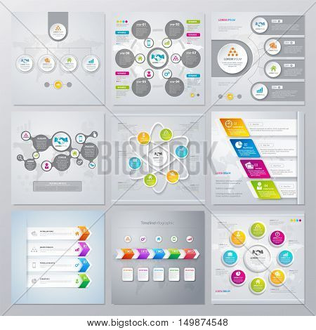Collection of infographics elements in modern flat business style. Eps 10. Can be used for diagram, banner, number options, workflow layout, step up options, web design etc.