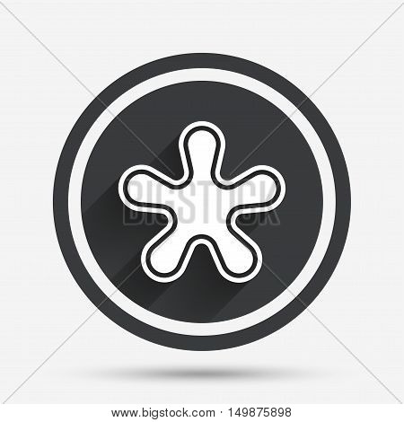 Asterisk round footnote sign icon. Star note symbol for more information. Circle flat button with shadow and border. Vector
