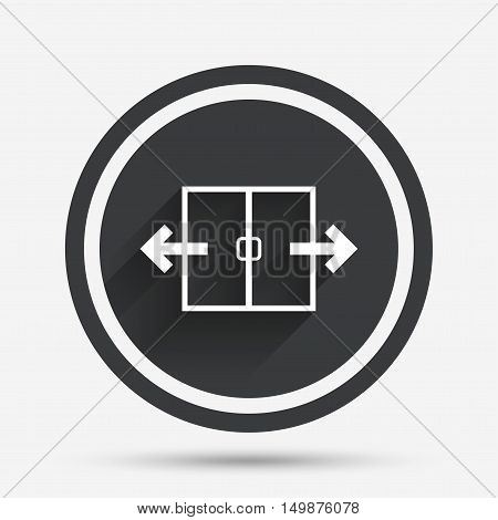 Automatic door sign icon. Auto open symbol. Circle flat button with shadow and border. Vector