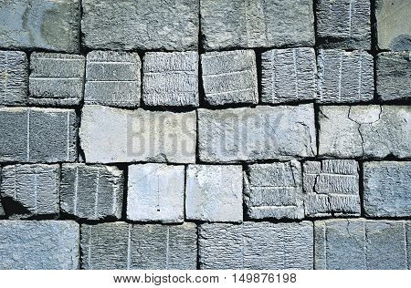 background or texture old construction aerated concrete blocks