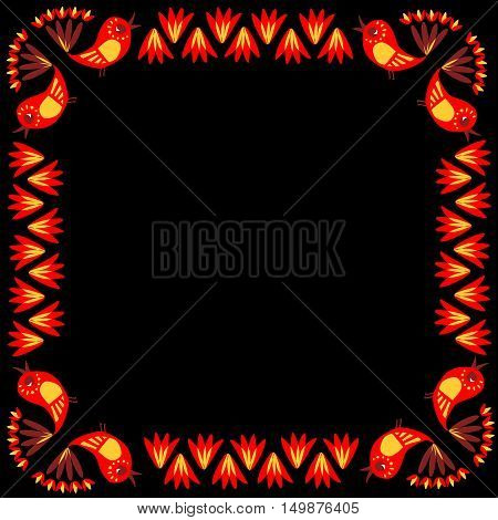 Lovely tablecloth with cute colorful birds and flowers. Vector image. Ethnic bandana print.