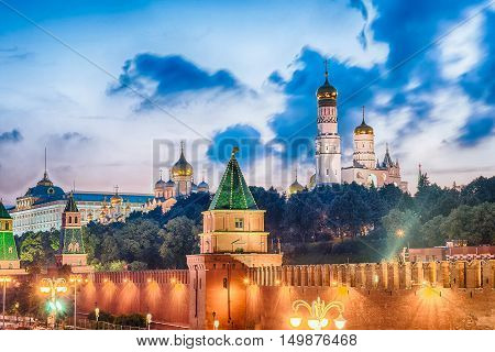 Scenic View Over The Kremlin At Dusk, Moscow, Russia