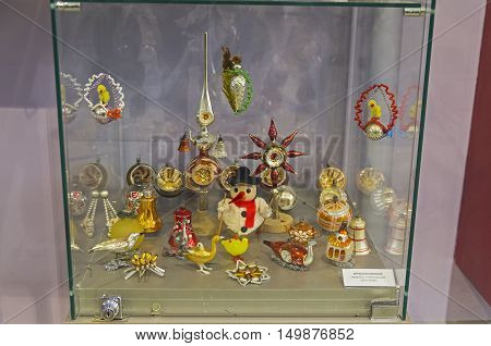 KLIN RUSSIA - JANUARY 16 2016: Old Christmas toys made in Germany and Czechoslovakia. 30-70 years of the twentieth century. Museum of Christmas toys.
