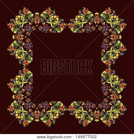 Decorative floral ornament. Can be used for frames, cards, bandana prints, kerchief design, tablecloths and napkins. Vector illustration.