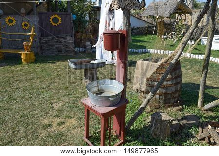 Washbasin With A Basin In The Yard