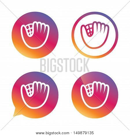 Baseball glove or mitt sign icon. Sport symbol. Gradient buttons with flat icon. Speech bubble sign. Vector