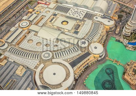 Dubai, United Arab Emirates - May 1, 2013: close up of panoramic view of Dubai Mall in Dubai Downtown. The Dubai Mall is one of the world's largest shopping malls in UAE.