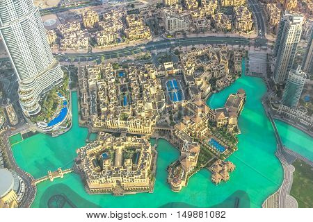 Dubai, United Arab Emirates - May 1, 2013: panoramic view of Dubai city from the top of a tower. Dubai Mall shopping area.
