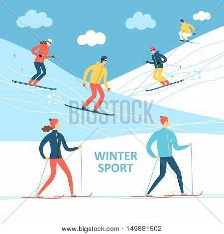 Winter sport cartoon illustration. Skiers and snowboarders on ski resort. Winter illustration for your design.