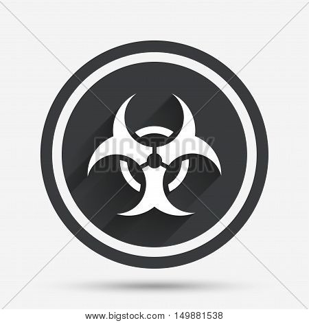 Biohazard sign icon. Danger symbol. Circle flat button with shadow and border. Vector