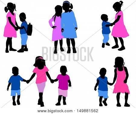 children silhouettes collection