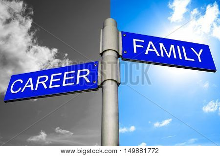 Decision between Career and Family - street signs