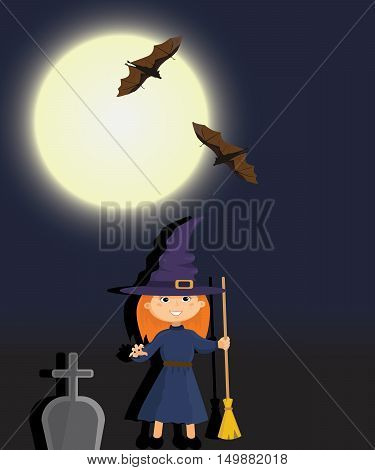 Witch in a graveyard night. Vector image.