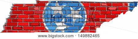 Tennessee map on a brick wall - Illustration,   The state of Tennessee map with flag inside,  Grunge map and flag state of Tennessee on brick textured background,  Tennessee flag in brick style