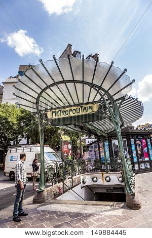 Old Art Nouveau Metro Station Chatelet In The Area Of Les Halles In Paris