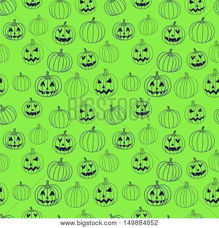 Green halloween vector textile print seamless pattern with jack-o-lantern pumpkin. Halloween background.