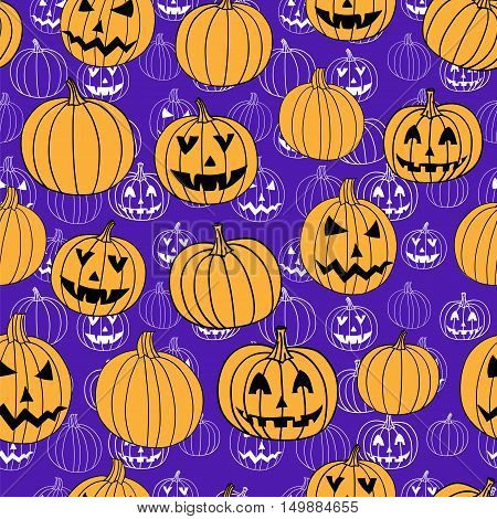 Purple halloween vector textile print seamless pattern with jack-o-lantern pumpkin. Halloween background.