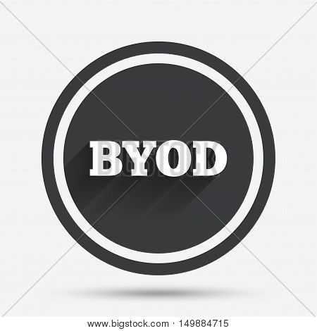 BYOD sign icon. Bring your own device symbol. Circle flat button with shadow and border. Vector