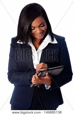 Happy Business Woman Writing On Digital Tablet